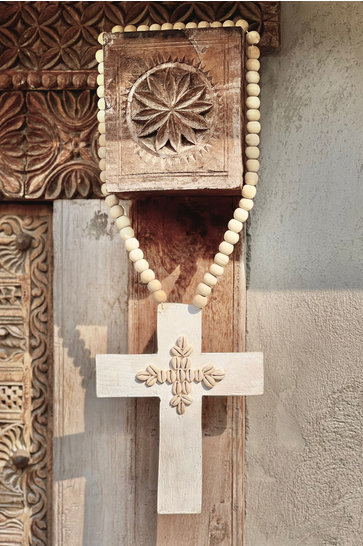 Collier Ornement Croix Coquillages Blanc