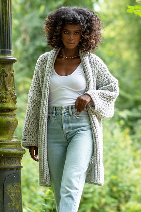 Knitted Cardigan Cable Gray