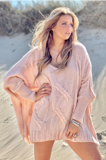 Sweater V-neck Cable Powder Pink