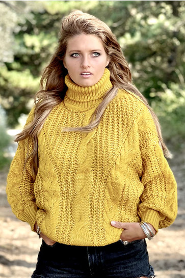 Sweater Turtleneck Cable Ocher Yellow
