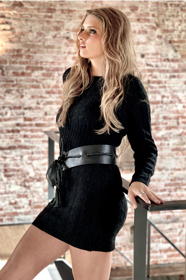 Knitted Dress Cable Black