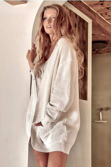 Knitted Cardigan Open White