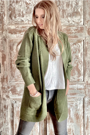 Knitted Cardigan Open Army