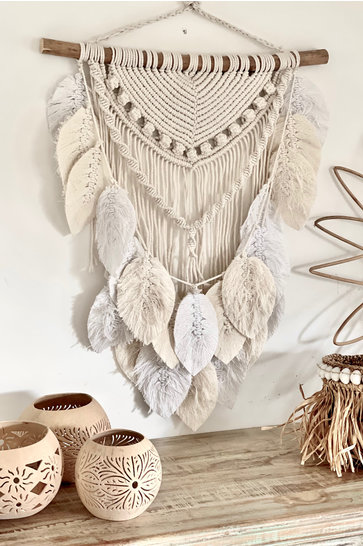 Macrame Feathers Natural White