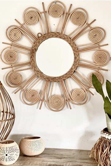 Mirror Rattan Sun