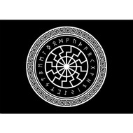 Vlag Black Rune Wheel Viking flag