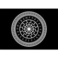 Vlag Zwarte Runen wiel Viking vlag