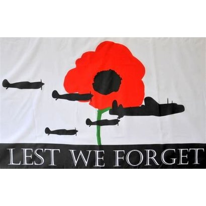 Vlag Poppy Lest We Forget RAF vlag