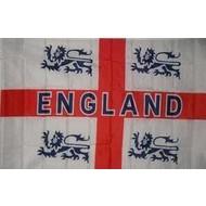 Vlag Engeland Voetbalflag met 4 leeuwen