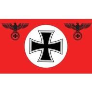 Vlag Deutschland Rood met Kruis en Ijzeren Kruis