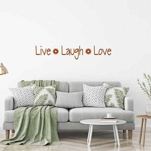 Muursticker Live Laugh love met bloem