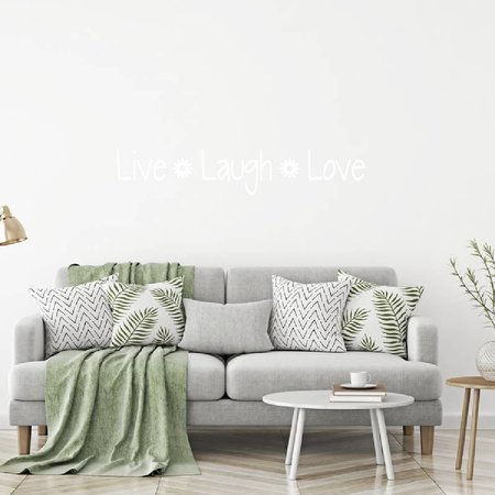 Muursticker Live Laugh love met bloem