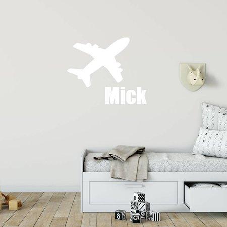 Muursticker vliegtuig met naam