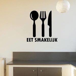 Muursticker eet smakelijk met bestek