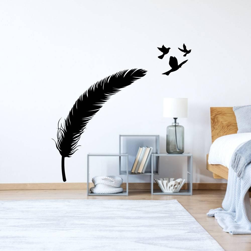 Muursticker veer met vogels
