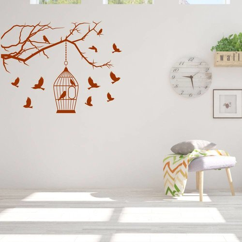 Muursticker vogels met huisje