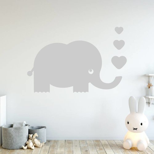 Muursticker olifant met hartjes