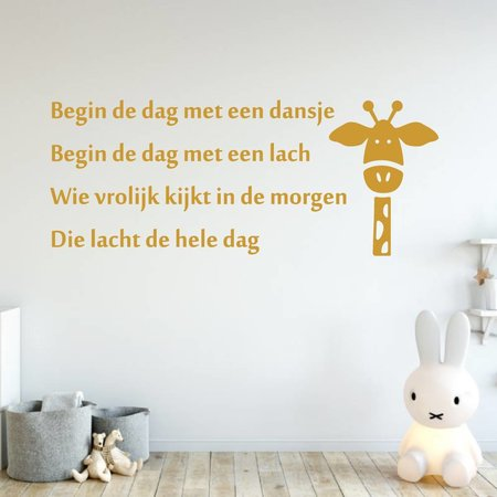 Muursticker Begin de dag met een dansje Begin de dag met een lach Wie vrolijk kijkt in de morgen Die lacht de hele dag