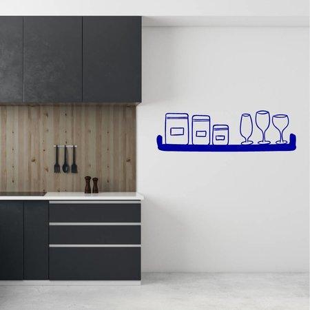 Muursticker plank met potten en wijnglazen