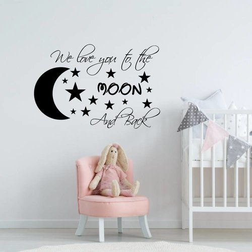 Muursticker we love you to the moon and back