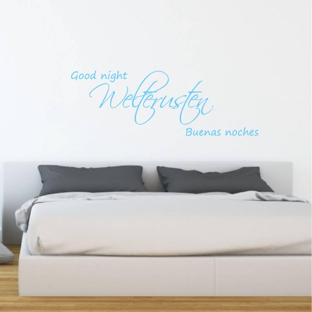 Muursticker welterusten good night buenas noches -  slaapkamer  nederlandse teksten  engelse teksten