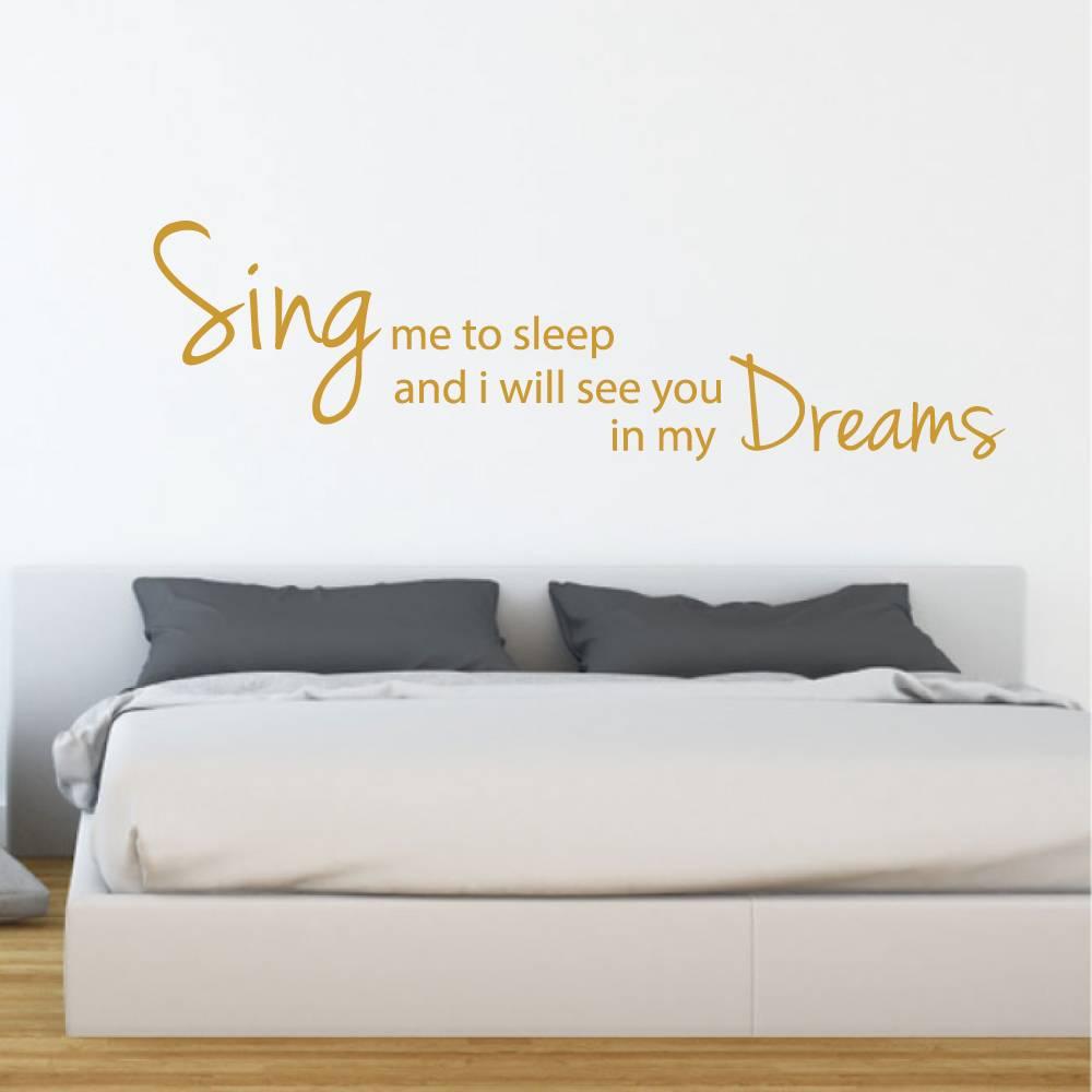 Muursticker sing me to sleep -  slaapkamer  engelse teksten