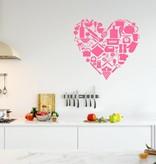 Muursticker keuken hart