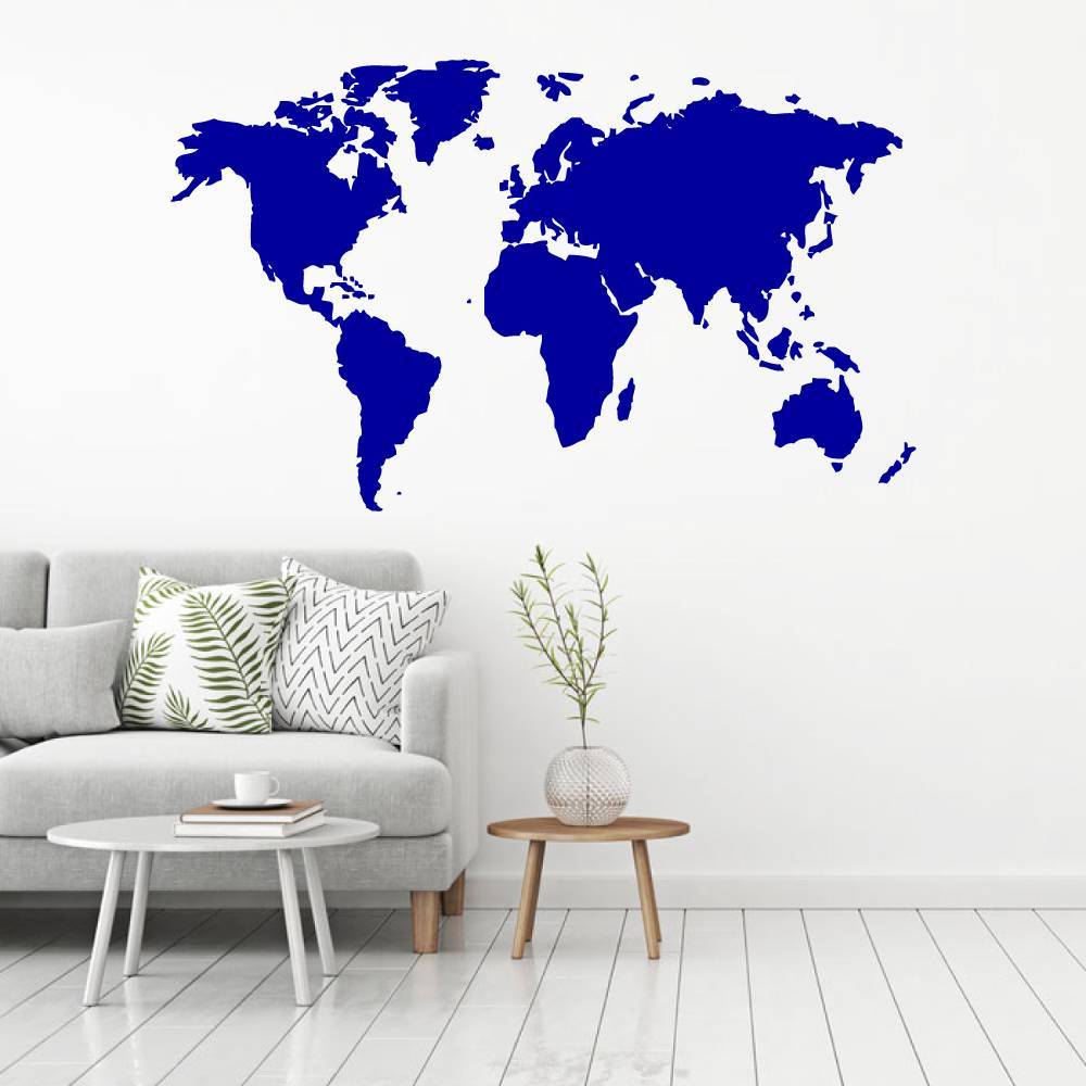 Muursticker wereldkaart -  woonkamer  slaapkamer