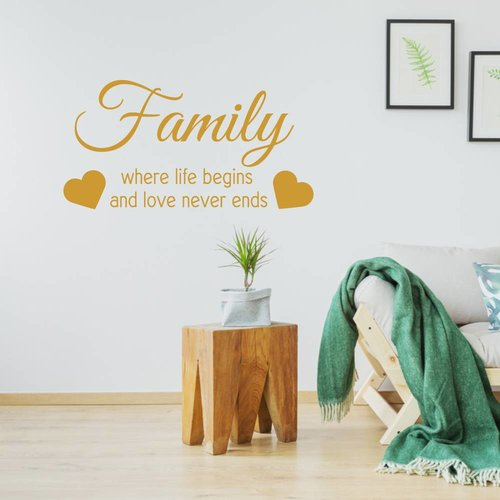 Muursticker Family where life begins and love never ends