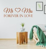 Muursticker Mr & Mrs forever in love