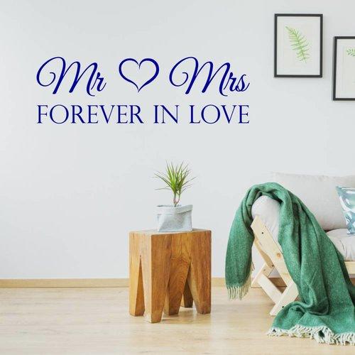 Muursticker Mr & Mrs forever in love