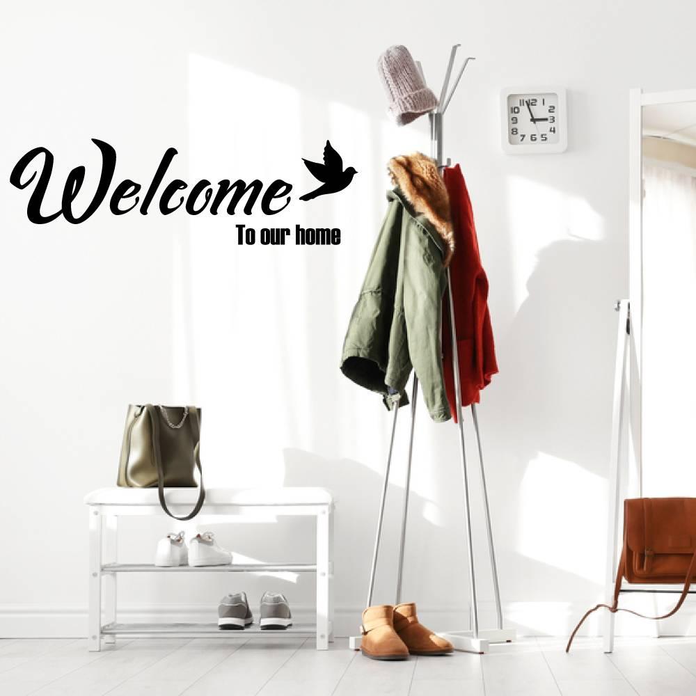 Muursticker Welcome to our home met vogel