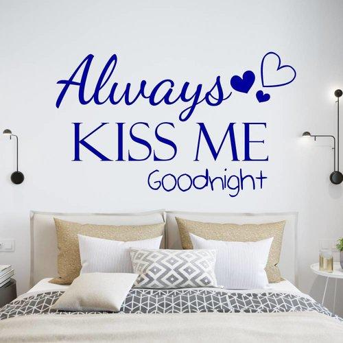 Muursticker Always kiss me goodnight met hartjes