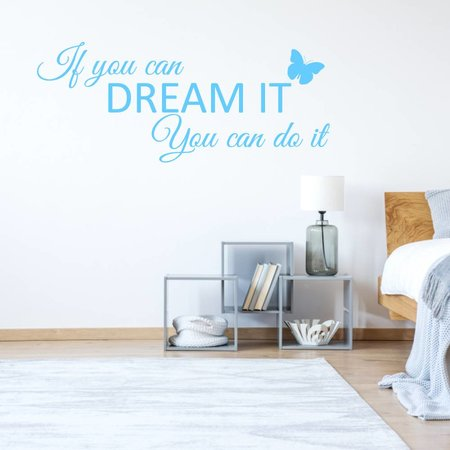 Muursticker If you can dream it You can do it met vlinder