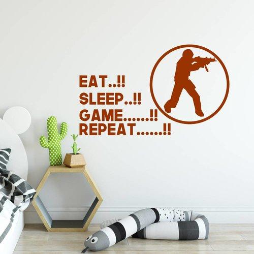 Muursticker Eat sleep game repeat