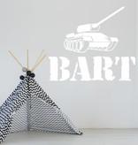Muursticker Tank met naam