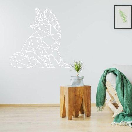 Origami muursticker wolf
