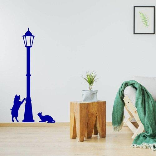 Muursticker lantaarn met poesen