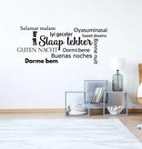 Muursticker slaap lekker in diverse talen