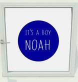Geboorte sticker it's a boy met naam