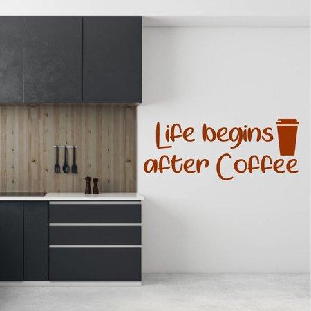 Muursticker Life begins after coffee