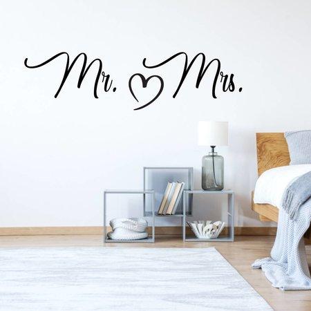 Muursticker Mr & Mrs hart