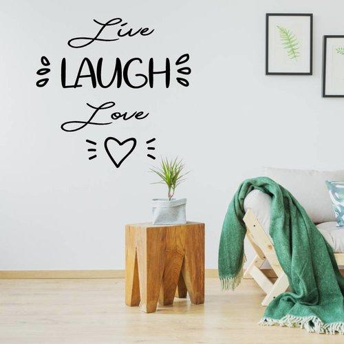 Muursticker live laugh love hartje
