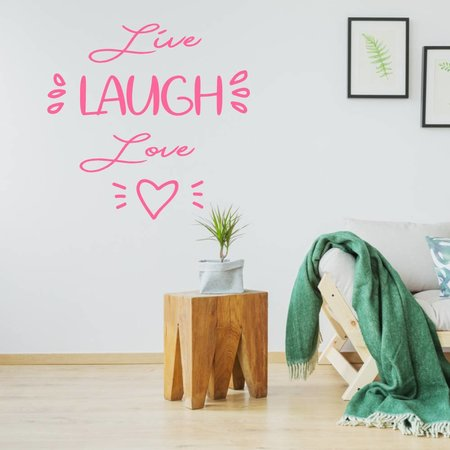 Muursticker live laugh love hartje