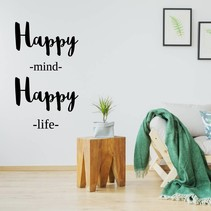 Muursticker Happy mind happy life