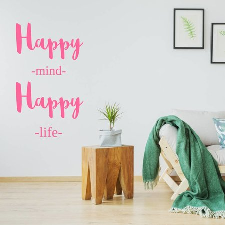 Muursticker Happy mind happy life