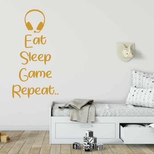 Muursticker Eat sleep game repeat headset