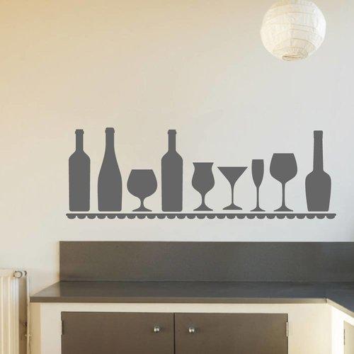 Muursticker wijn plank