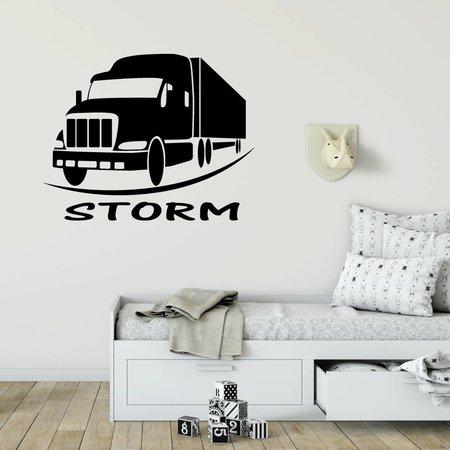 Muursticker vrachtwagen met naam