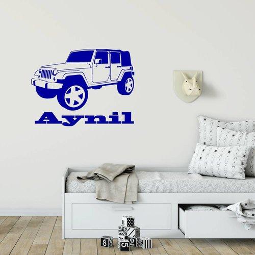 Muursticker Jeep met naam